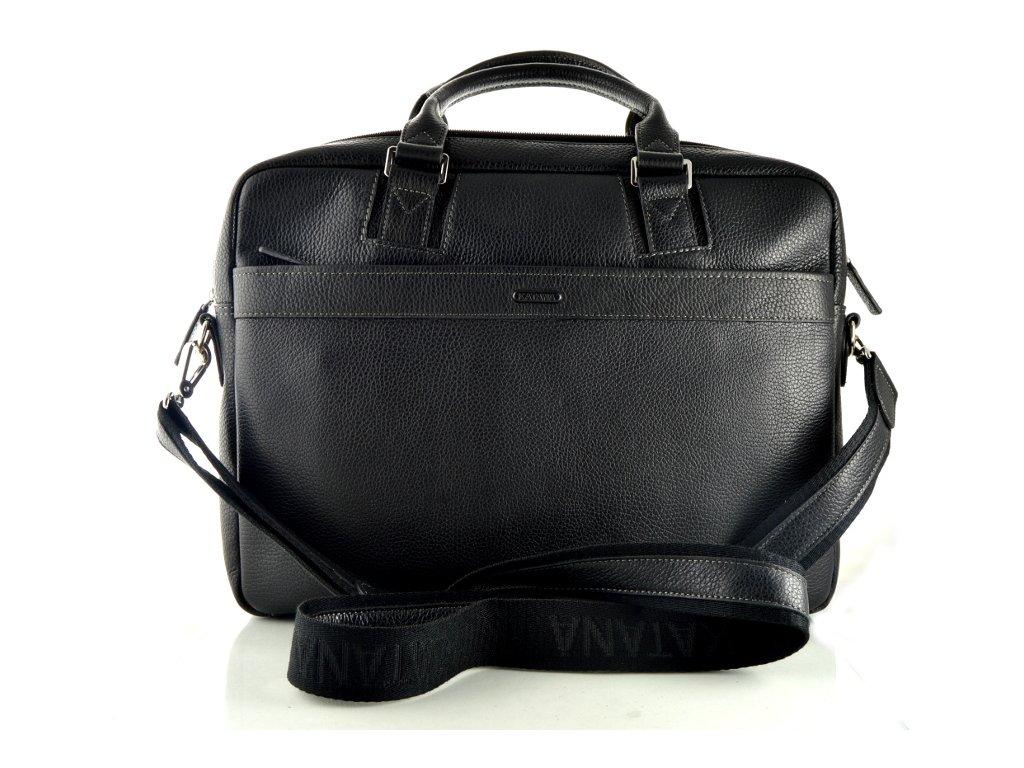 Dvoufochová manažerská kožená taška na notebook Katana - černá