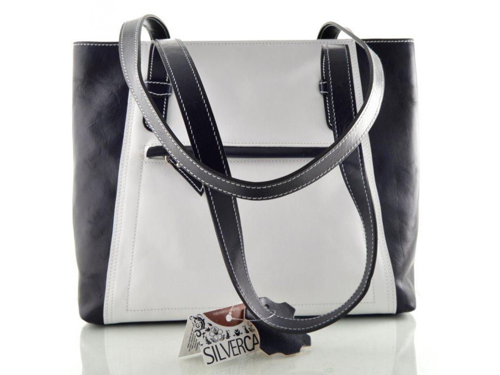 Nadčasová kožená kabelka Silvercase - bílo modrá