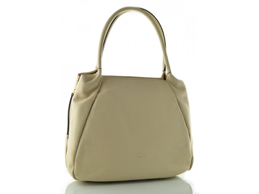 Velká kožená kabelka Katana - světle béžová