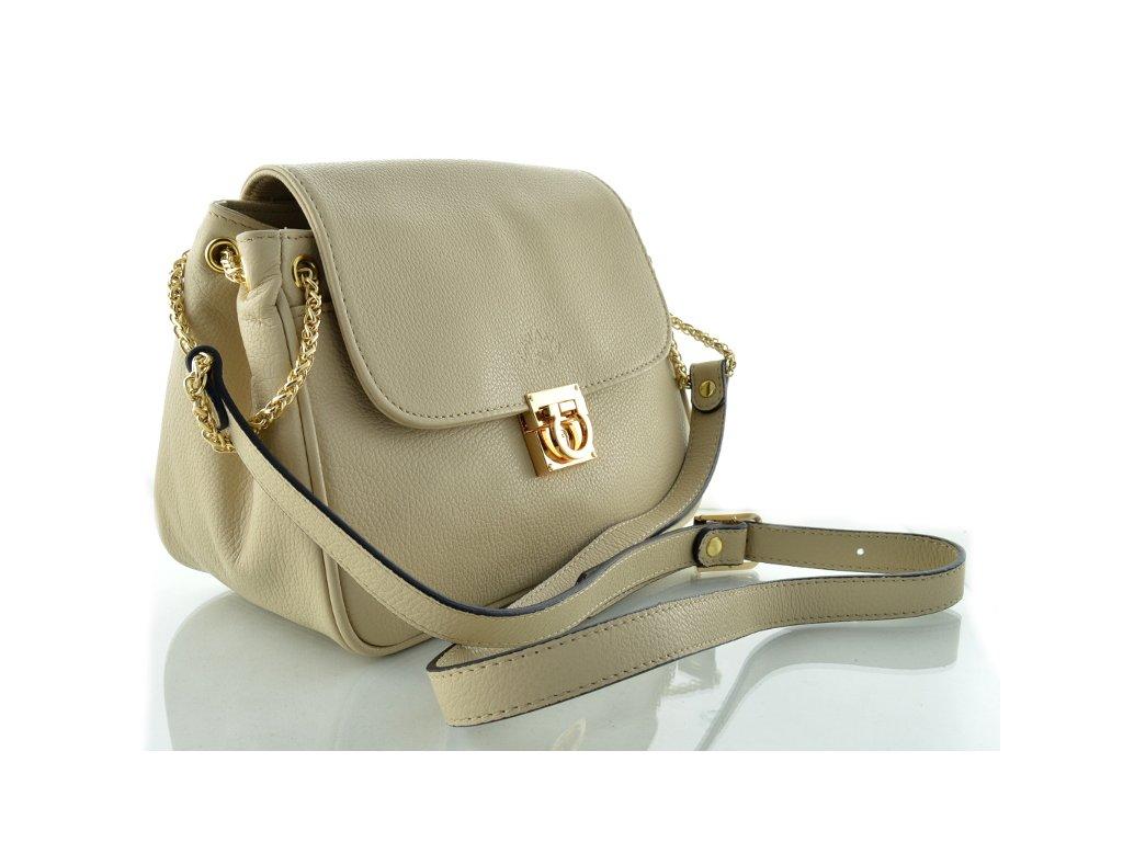 Klopnová kožená kabelka se zlatým řetízkem - béžová - Elegancedoruky.cz 87930b17881