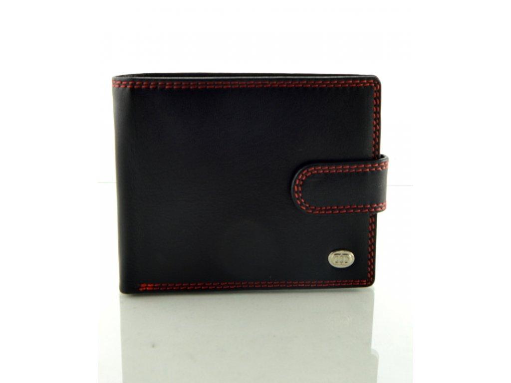 Pánská kožená peněženka s červeným prošíváním