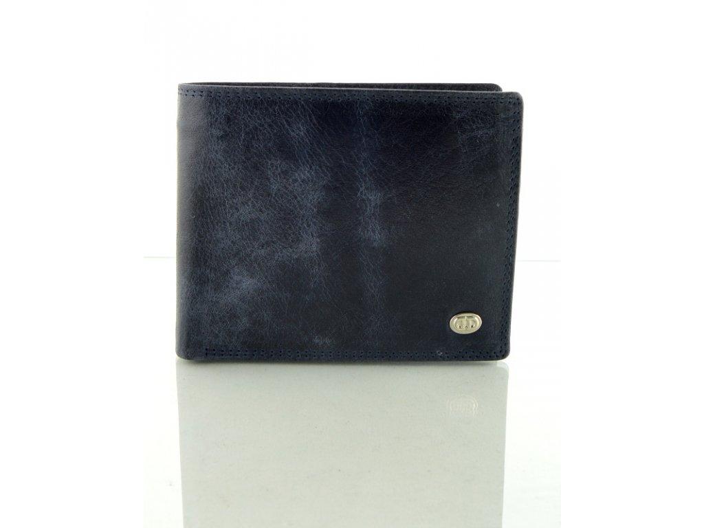 Tmavě modrá kožená peněženka