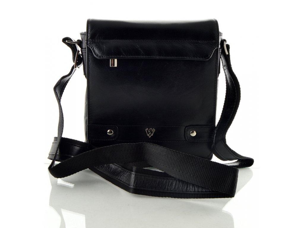 Kožená taška s dlouhým popruhem na rameno - černá