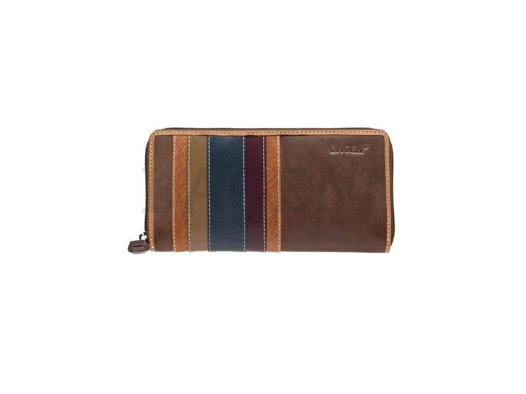Hnědá penálová peněženka Lagen s barevnými pruhy