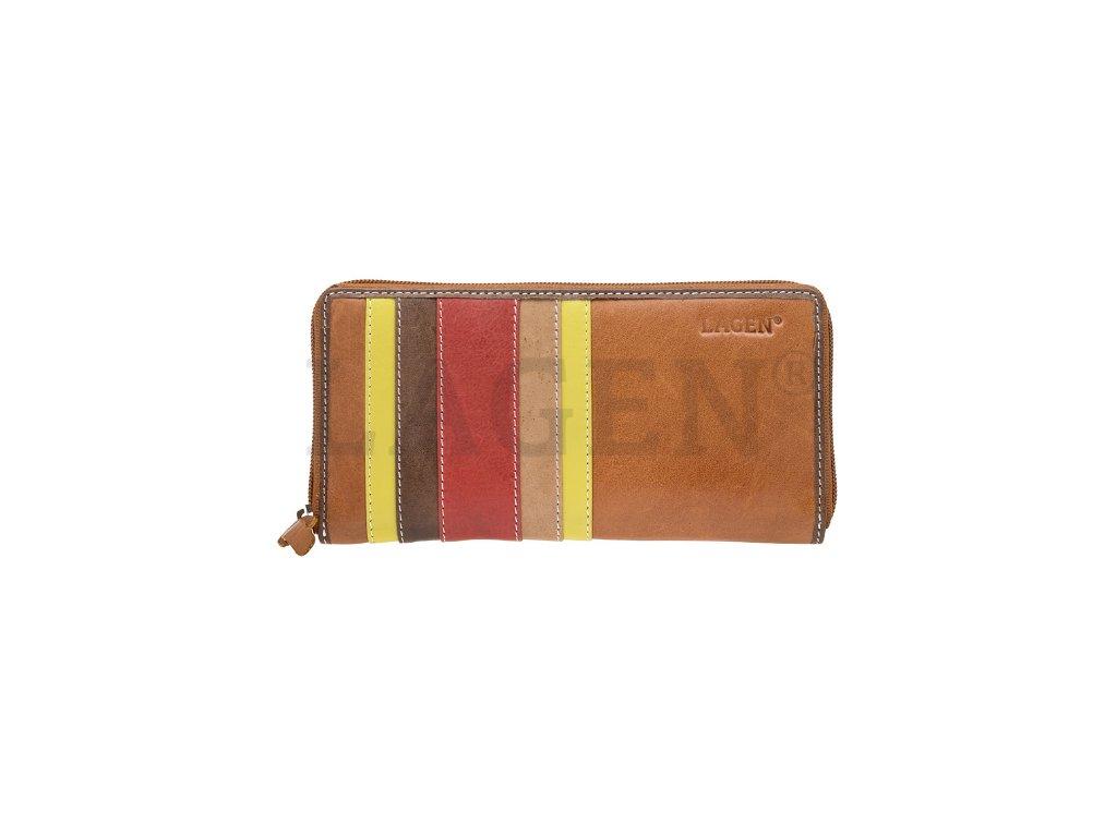 Světle hnědá penálová peněženka Lagen s barevnými pruhy