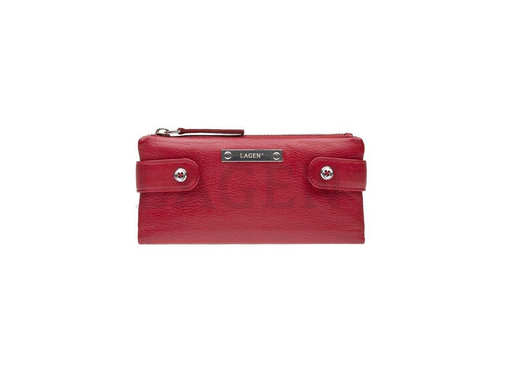 Kožená rozevírací peněženka Lagen - červená