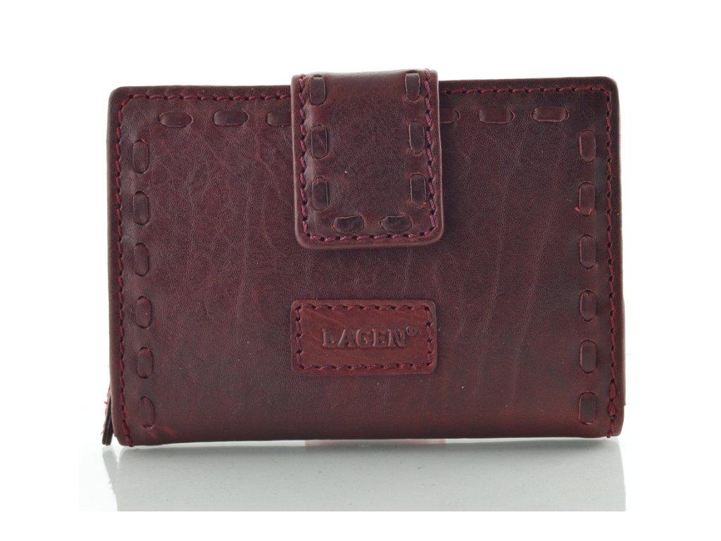 Kožená dámská peněženka s prošitým páskem značky Lagen - vínová