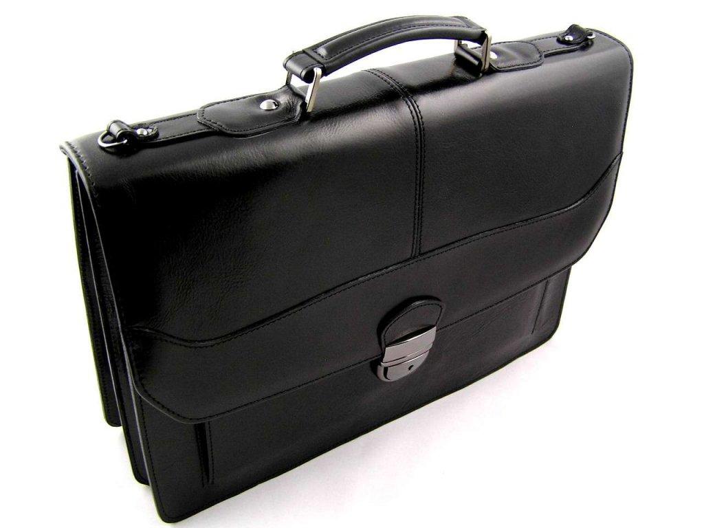 Luxusní kožená aktovka Silvercase z italské kůže - černá