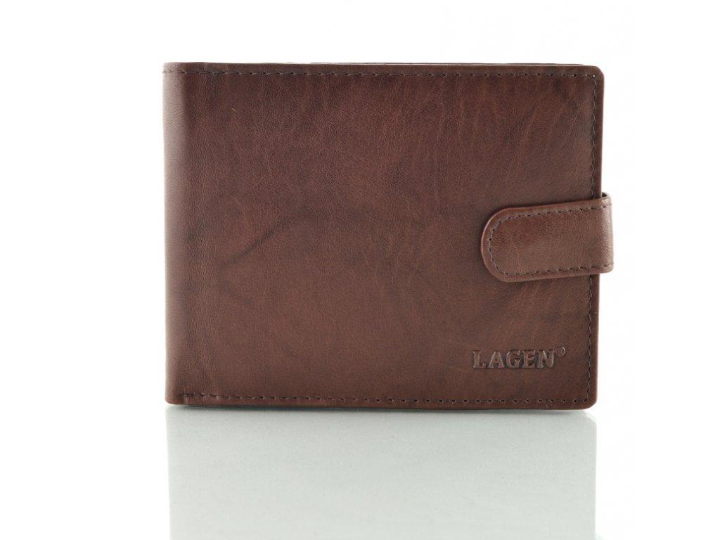 Hnědá pánská kožená peněženka s přezkou