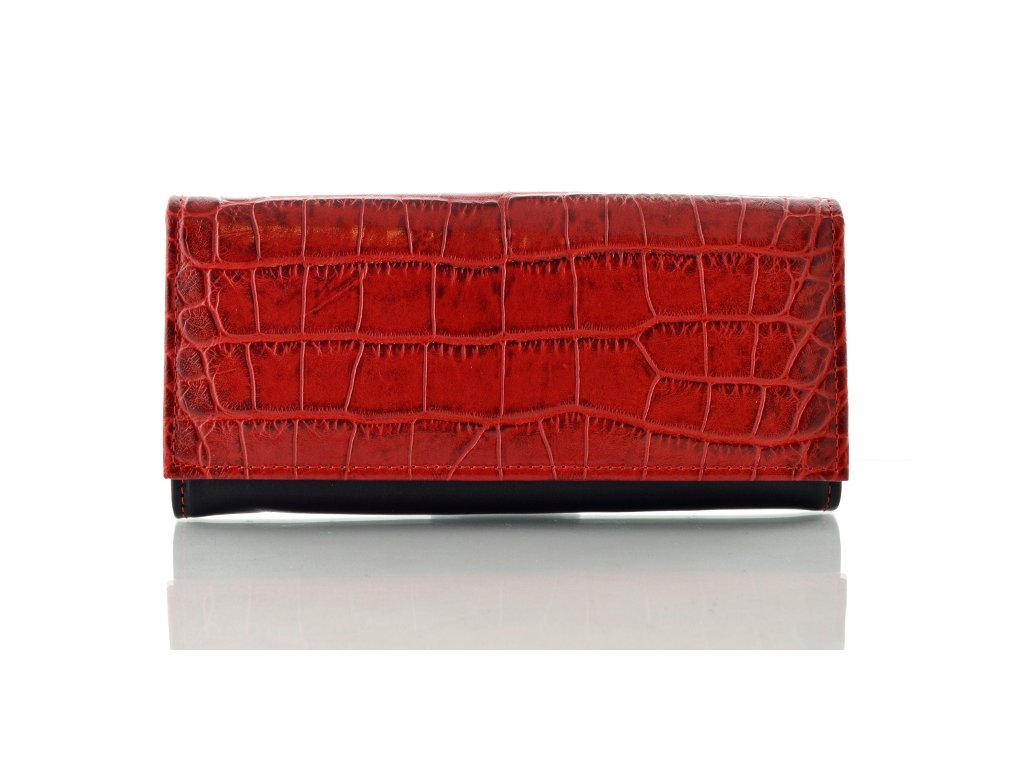 Červeno-černá kroko peněženka Hajn