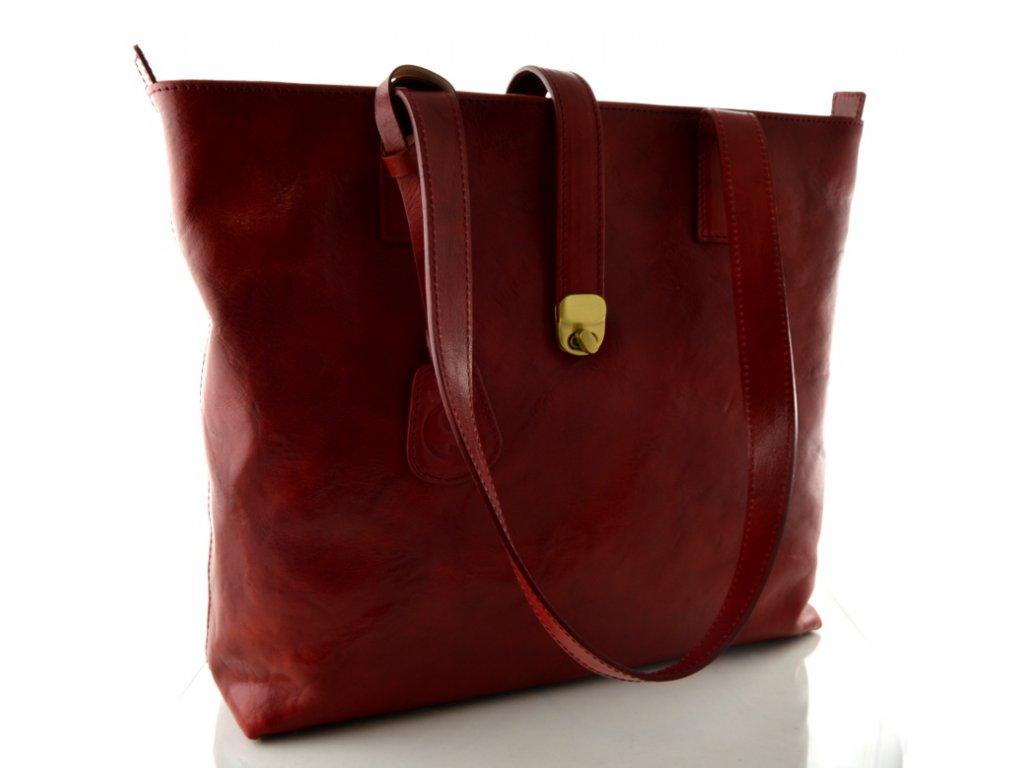 Velká kožená kabelka Silvercase - bordo