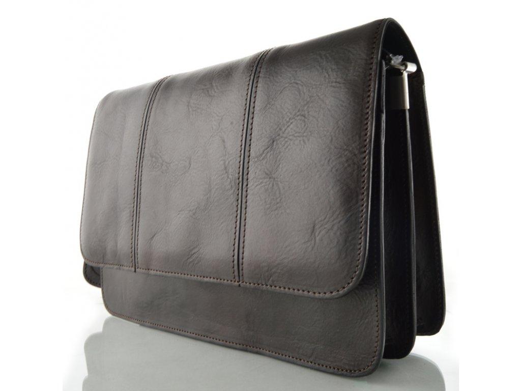 Klopnová kožená taška Silvercase - tmavě hnědá