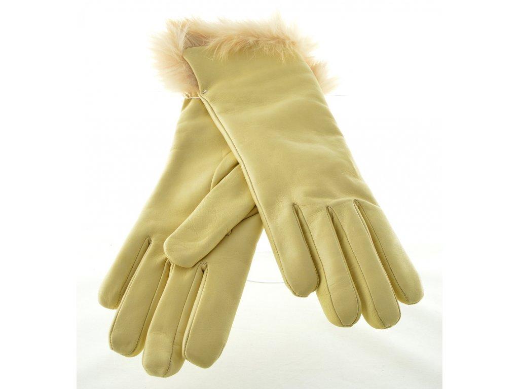Kožené dámské rukavice s kožešinovou manžetou - krémové