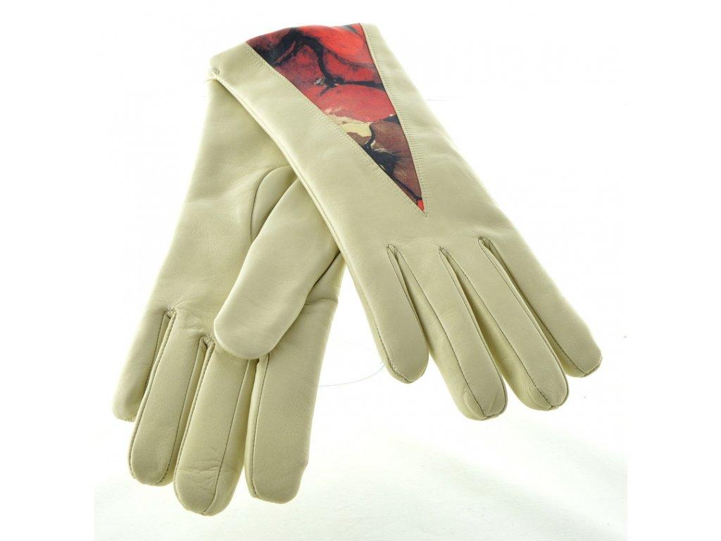 Krémové kožené dámské rukavice se vzorem květin