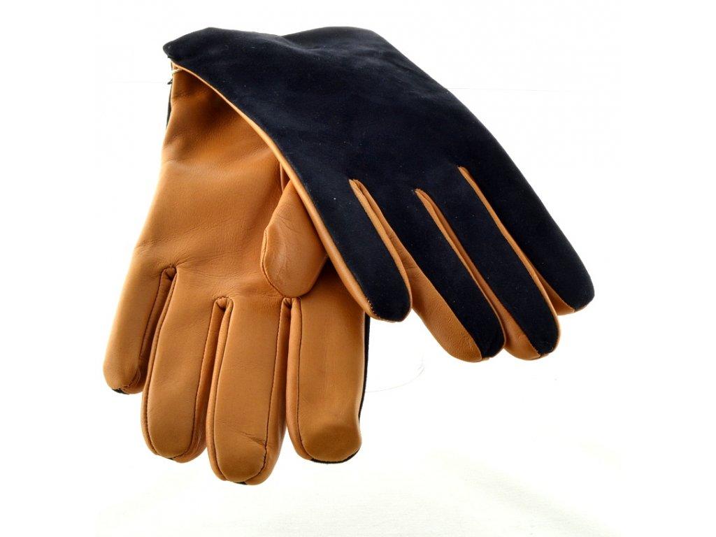 Dvoubarevné pánské kožené rukavice