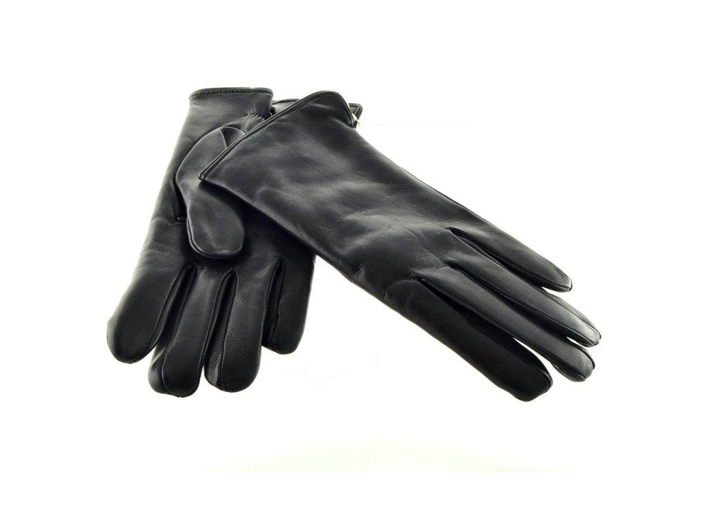 Hladké pánské kožené rukavice černé barvy s podšívkou ... a236a091fc