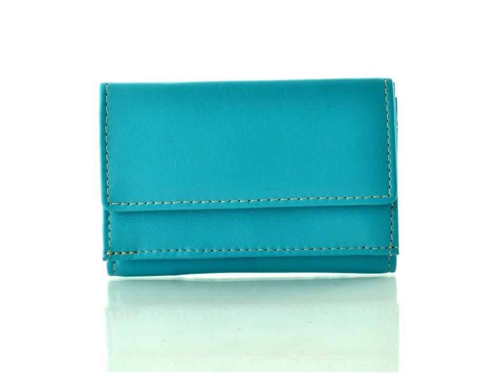 Kožená mini peněženka - tyrkysová