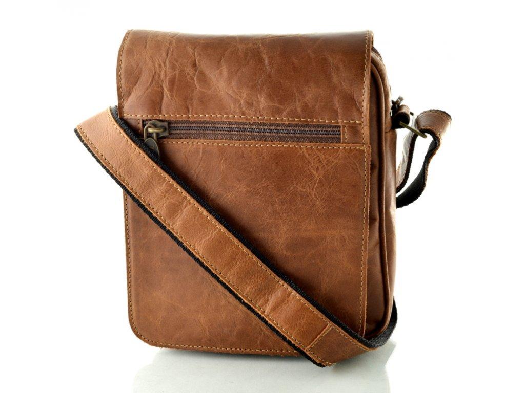 Kožená taška přes rameno Hajn - hnědá