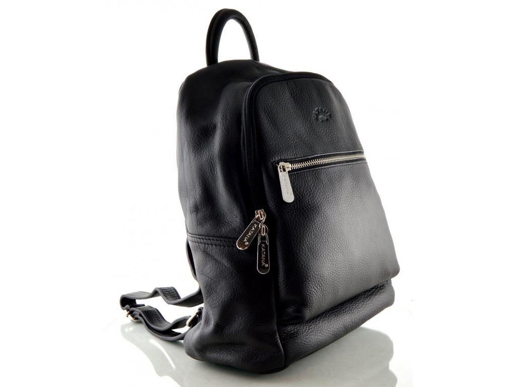 Černý kožený batoh Katana