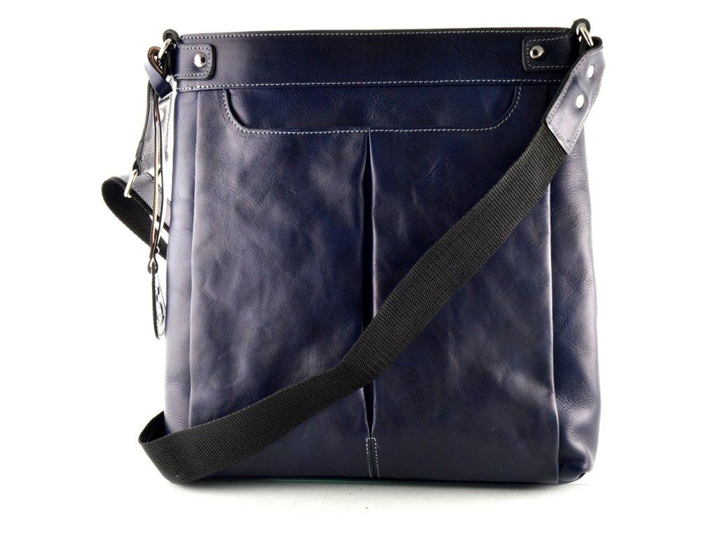 98e3a751da Velká dámská kožená taška přes rameno Silvercase - modrá lesklá ...
