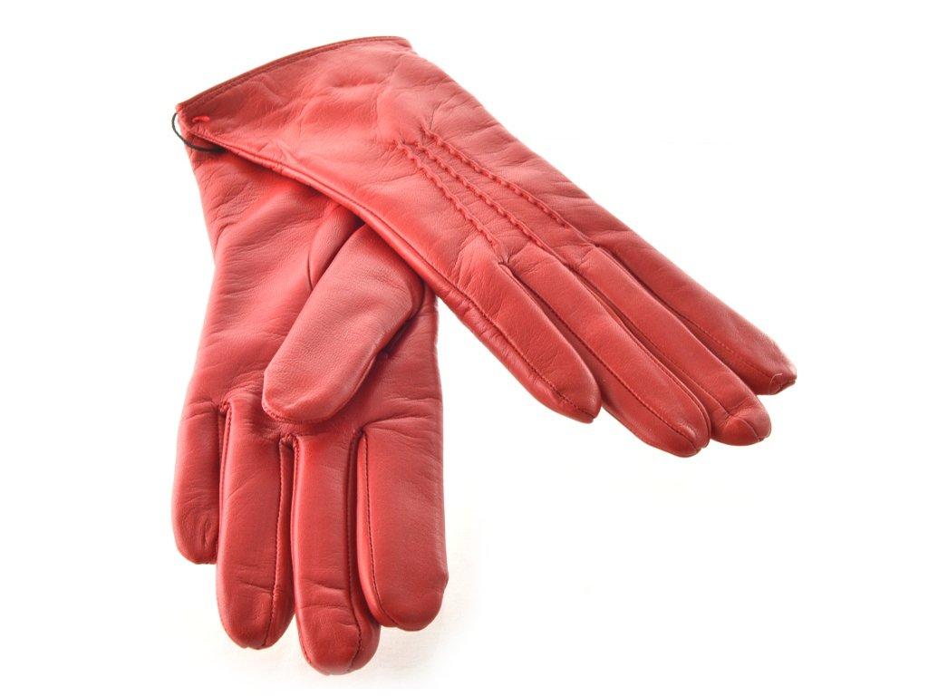 8a332696d15 Červené kožené dámské rukavice s trojitou vlnkou - Elegancedoruky.cz