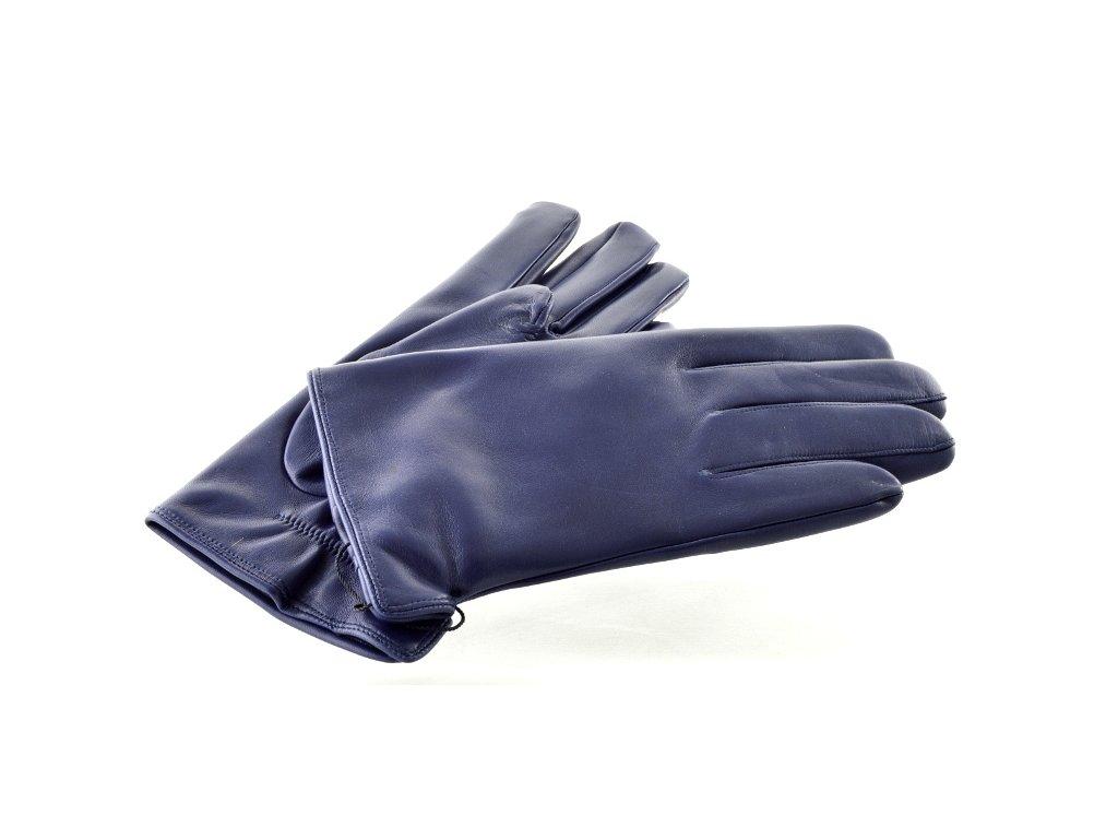 Hladké pánské kožené rukavice tmavě modré s podšívkou ... fafa97de44