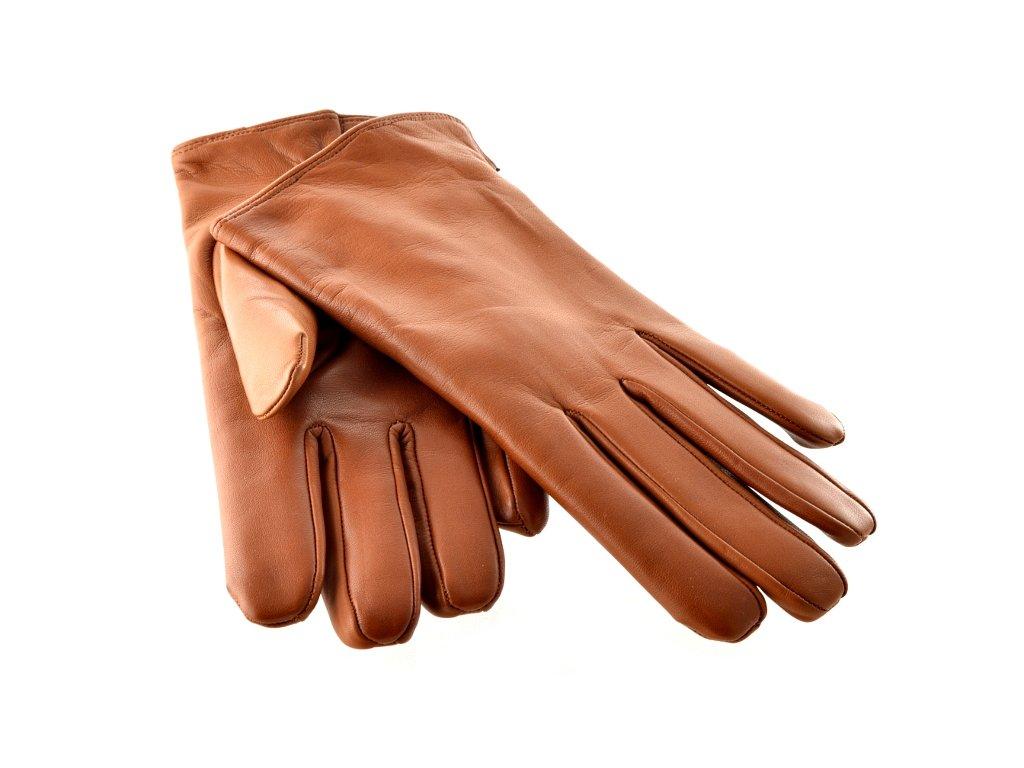 Hladké pánské kožené rukavice hnědé s podšívkou