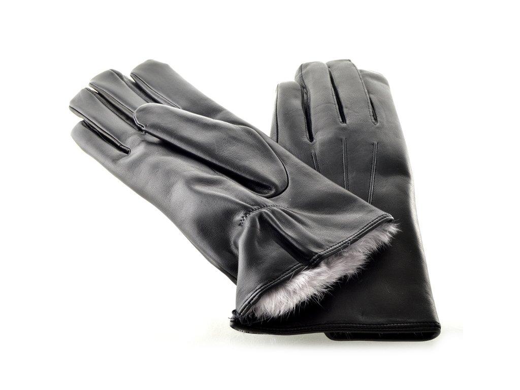 Teplé pánské kožené rukavice s podšívkou ze španělského králíka ... 083e199d05