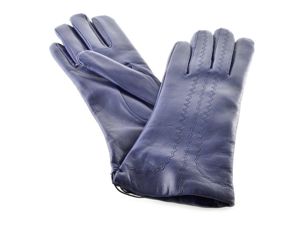 Kožené dámské rukavice s ozdobným šitím modré