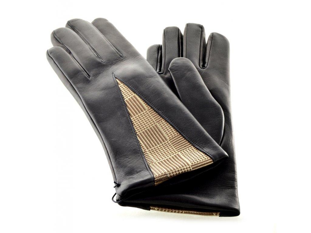 Černé kožené dámské rukavice s podšívkou se zlatým vzorem