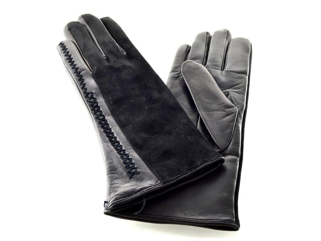 Černé dámské kožené rukavice