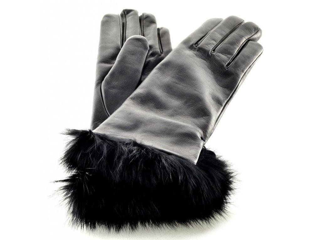 Černé kožené rukavice s kožešinkovou manžetou