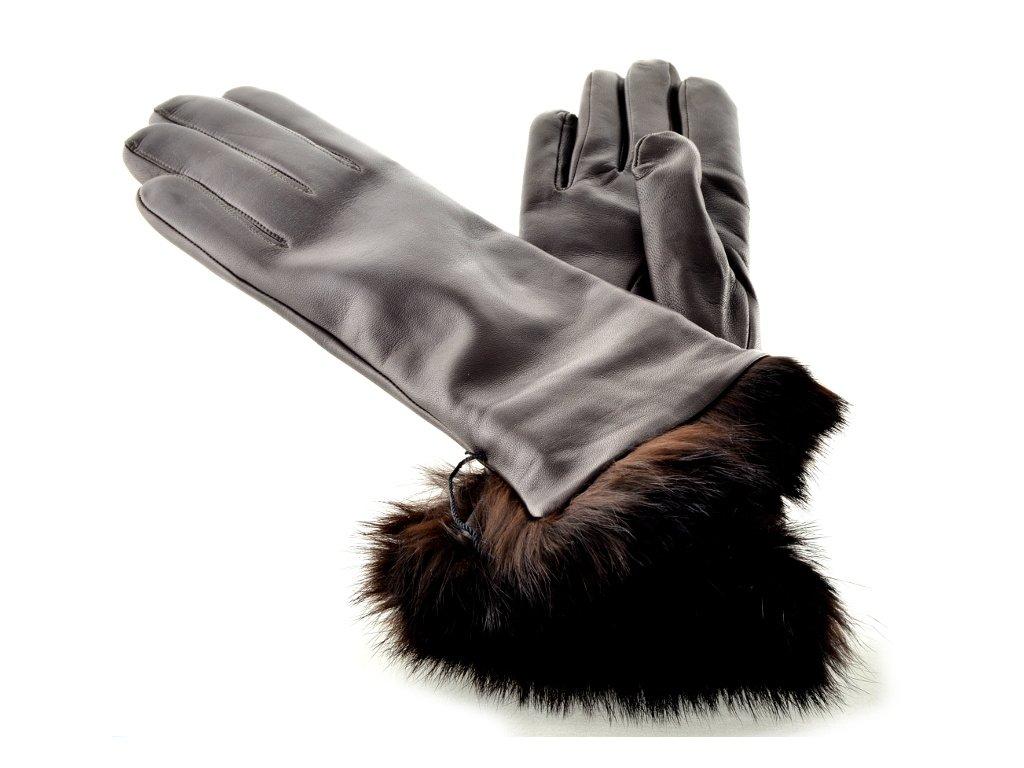 Hnědé kožené rukavice s kožešinkovou manžetou