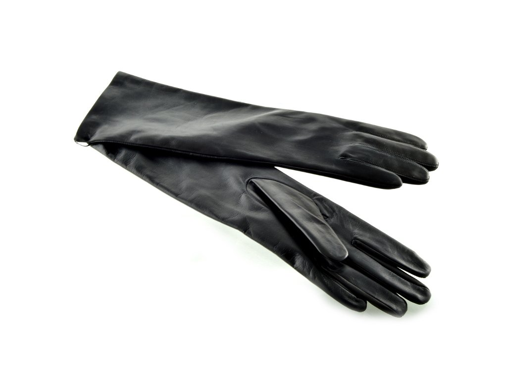 Dlouhé dámské kožené rukavice - černé