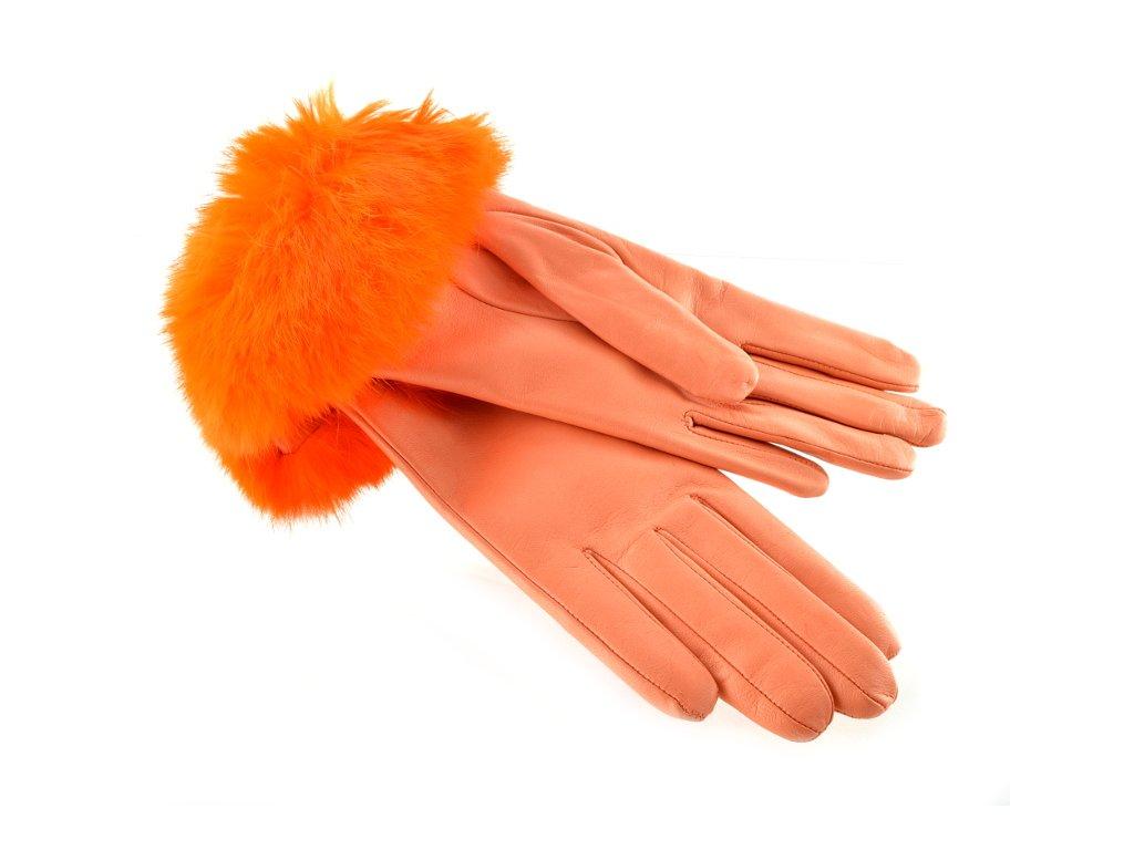 Kožené rukavice s kožešinkovou manžetou lososové barvy