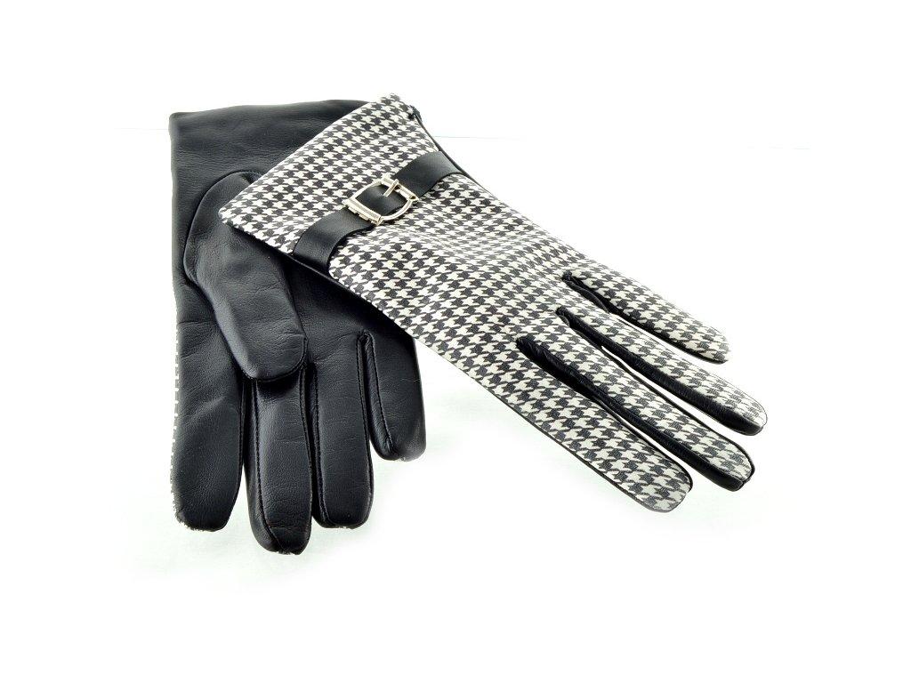 Černobílé dámské kožené rukavice