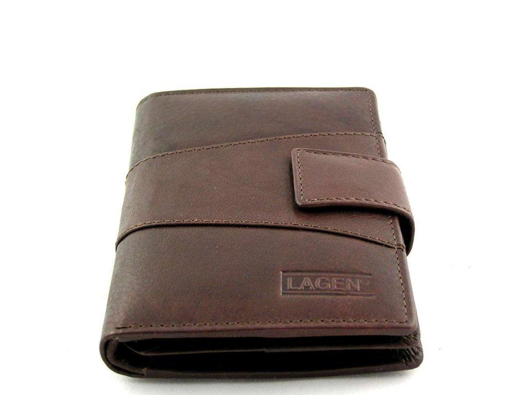 Vysoká kožená peněženka Lagen s přezkou - hnědá