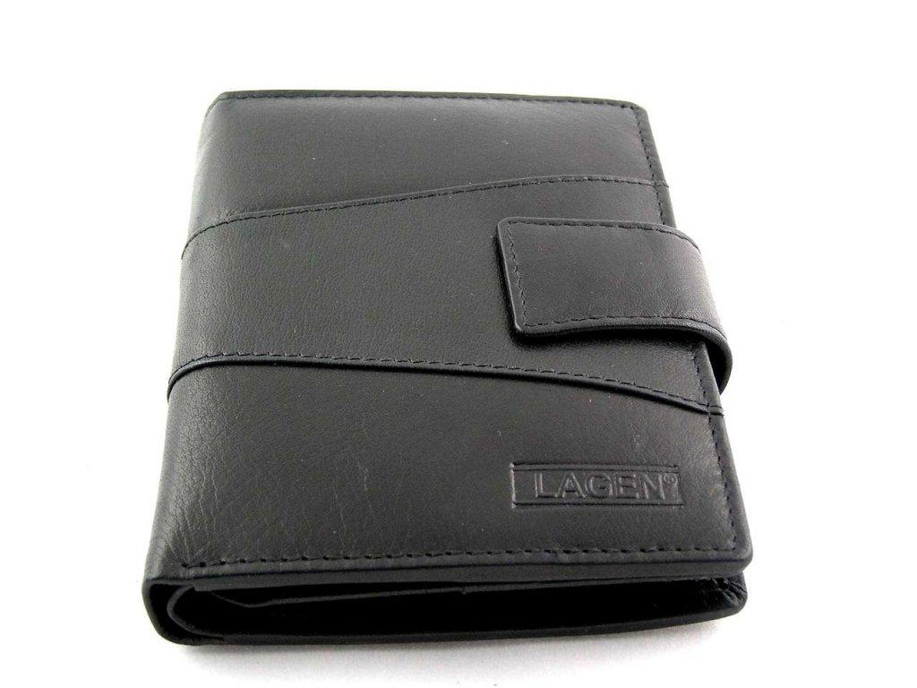 Vysoká kožená peněženka Lagen s přezkou - černá