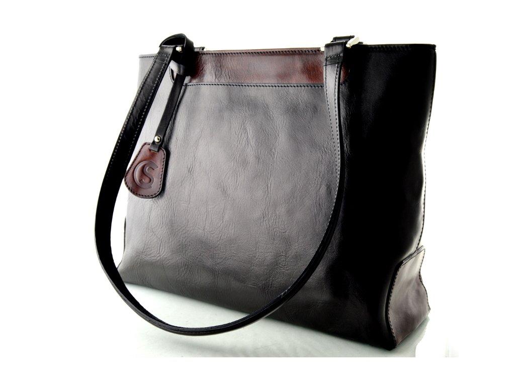 Elegantní kožená kabelka Silvercase - černohnědá