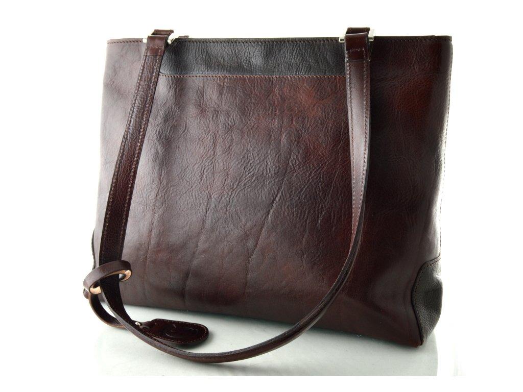 Elegantní kožená kabelka Silvercase - koňaková