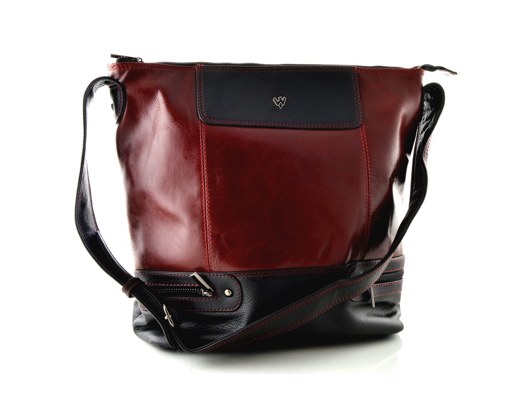 Černo červená kožená kabelka Arwel