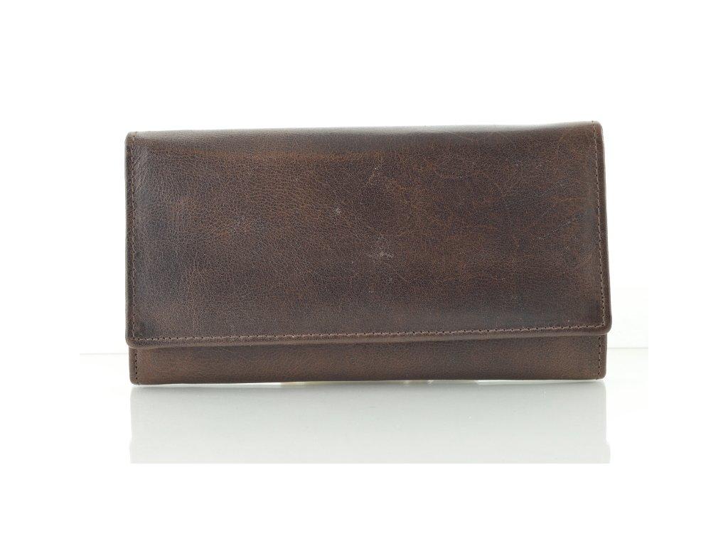 Tmavě hnědá kožená rámová peněženka