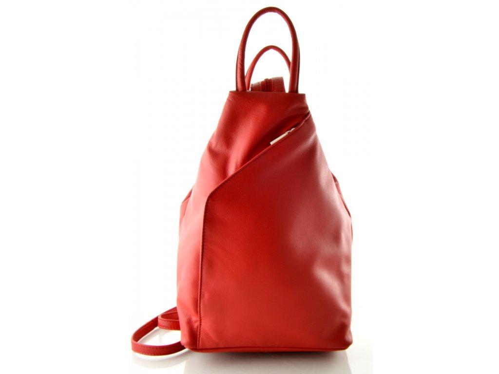 Kožený batůžek Arwel - světle červený