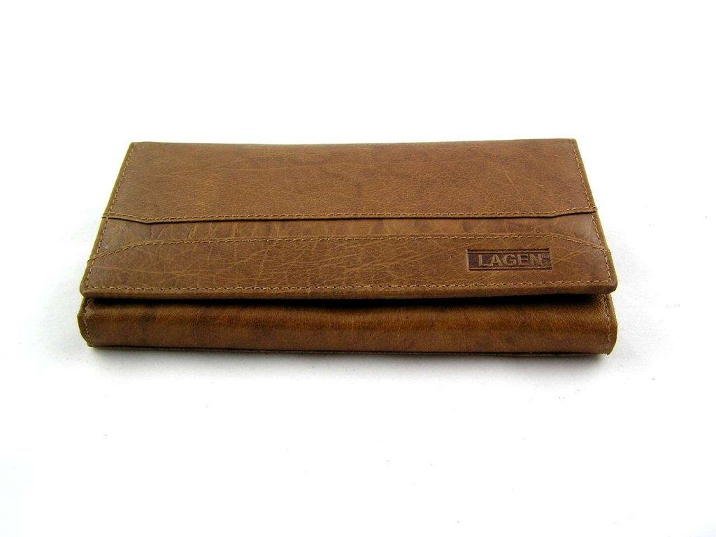 Dámská peněženka Lagen s pruhem - světle hnědá