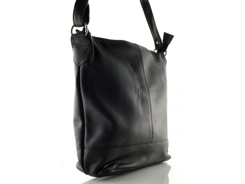 Dámská kožená taška přes rameno DD - černá