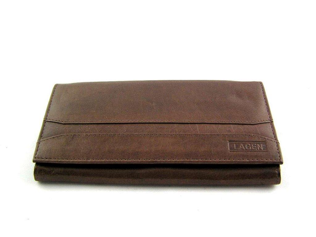 Dámská peněženka Lagen s pruhem - tmavě hnědá