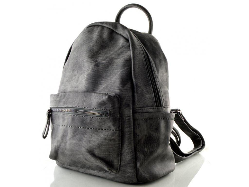 Koženkový batoh černo šedý