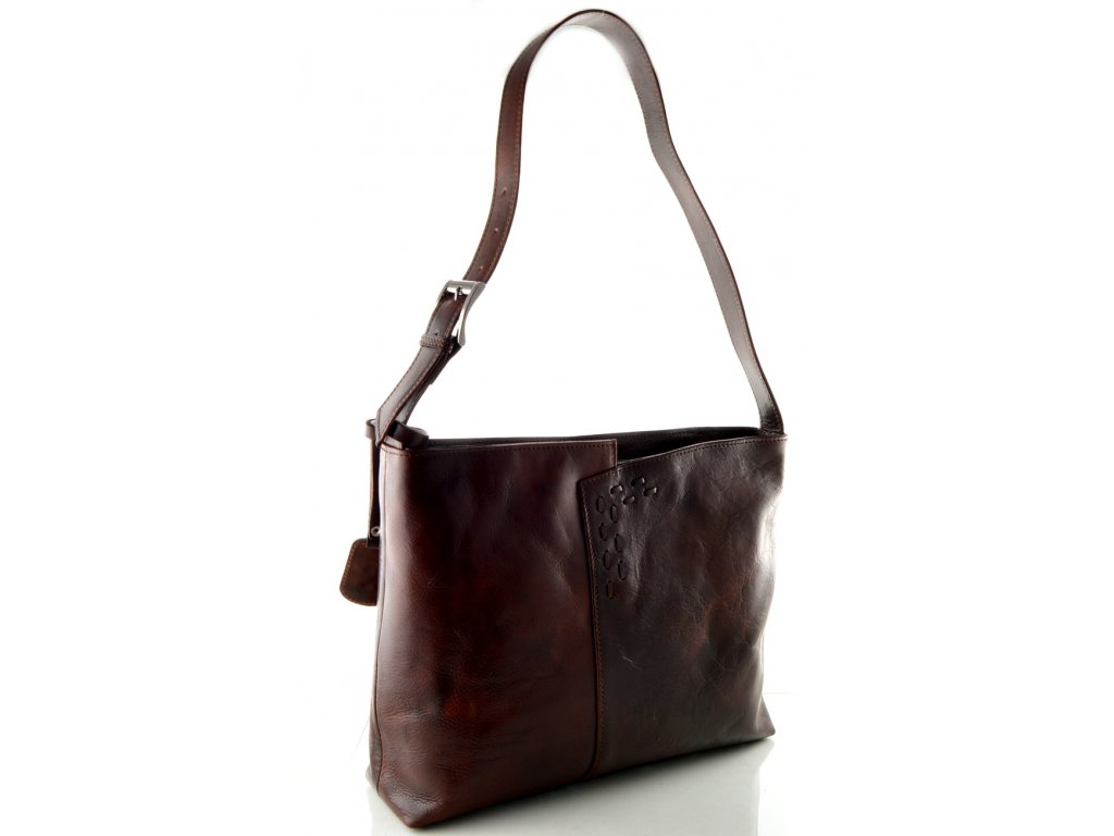 Kožená kabelka se zdobným prošíváním - hnědá