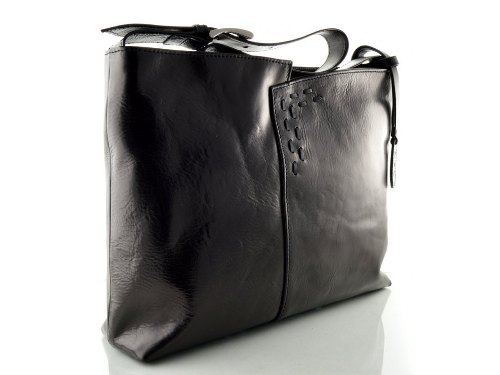 Kožená kabelka se zdobným prošíváním - černá