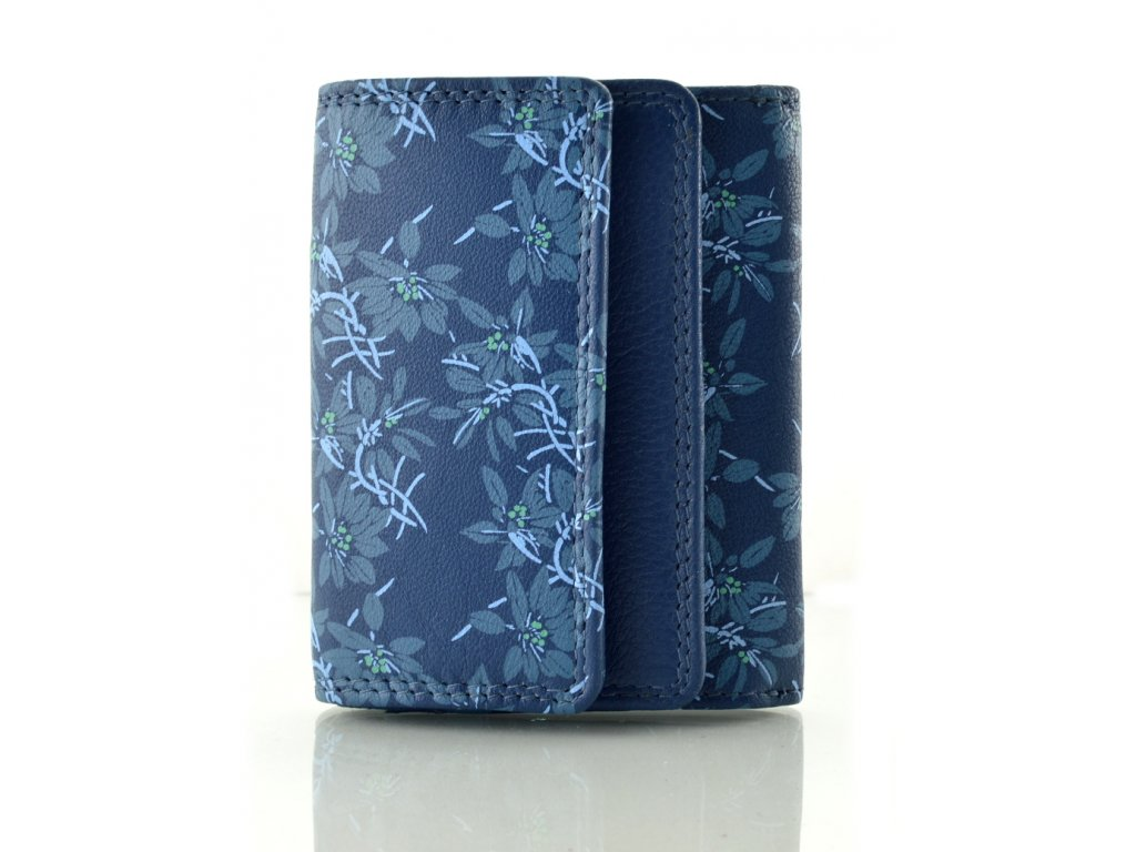 Malá kožená peněženka - modrá kytky
